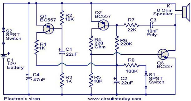 Incredible Electronic Siren Circuit Electronic Circuits And Diagrams Zipur Mohammedshrine Wiring Diagrams Zipurmohammedshrineorg