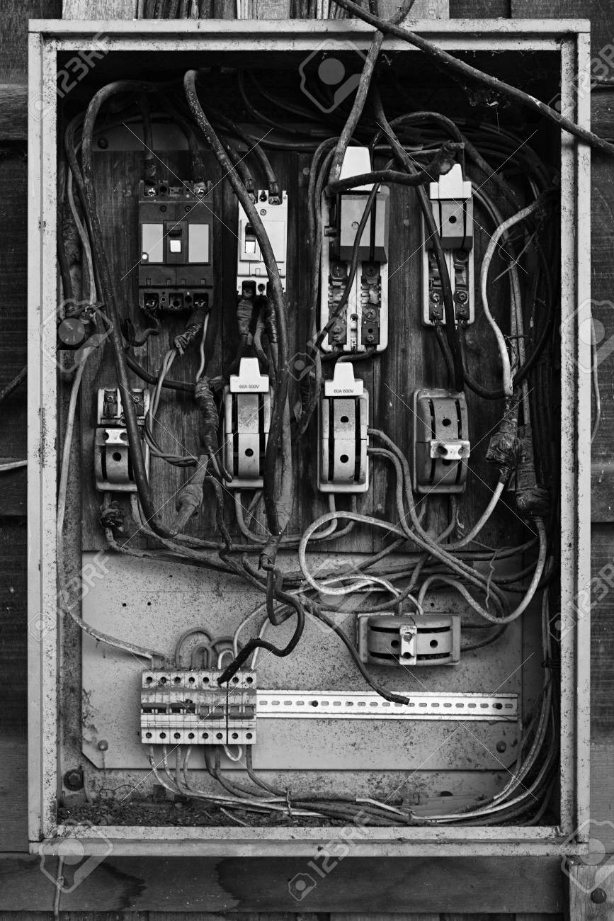 Phenomenal Old Electric Breaker Box With Wires And Fuses In Black And White Zipur Mohammedshrine Wiring Diagrams Zipurmohammedshrineorg