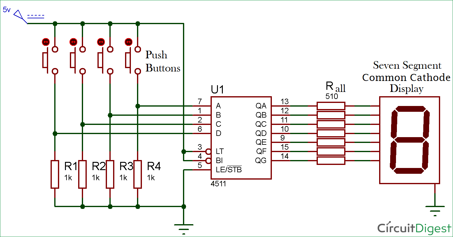 Magnificent Driving A 7 Segment Display Using A Bcd To 7 Segment Driver Ic Cd4511 Zipur Mohammedshrine Wiring Diagrams Zipurmohammedshrineorg